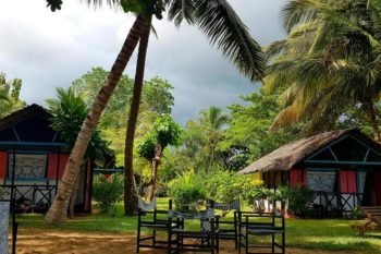 in the courtyard of Auberge Aladabo in Nosy be