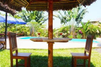 tropical bungalow outdoor lounge in nosy be