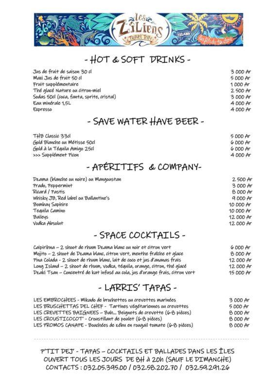 zillian menu restauracji