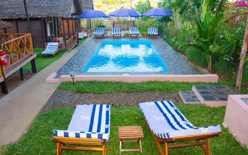 tropical bungalow pool at nosy be